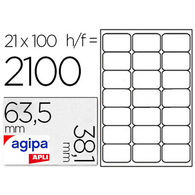 AGIPA ÉTIQUETTES BLANCHES 63.5X38.1MM