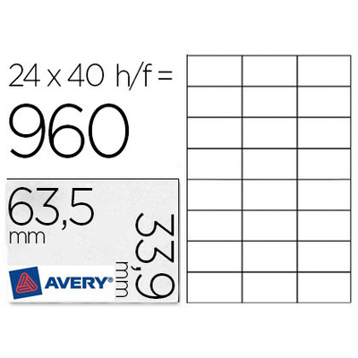 AVERY ÉTIQUETTES BLANCHES 63.5X33.9MM