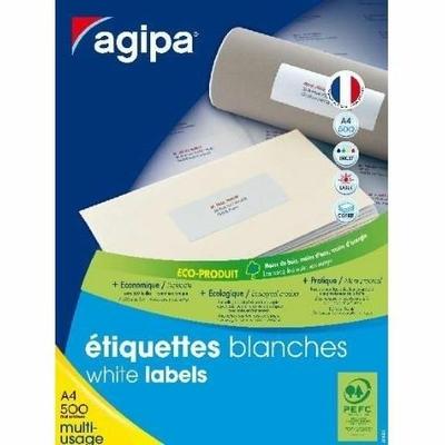 AGIPA ÉTIQUETTES BLANCHES 38X21.2MM PACK DE 500 FEUILLES