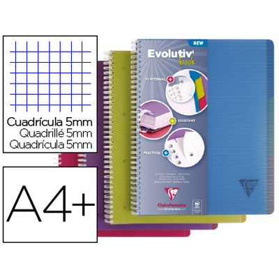 EVOLUTIV'BOOK 22.5X29.7CM 240 PAGES PETITS CARREAUX ASSORTIS