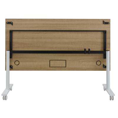 YES MERISIER PIEDS BLANC TABLE MOBILE ET RABATTABLE 120CM