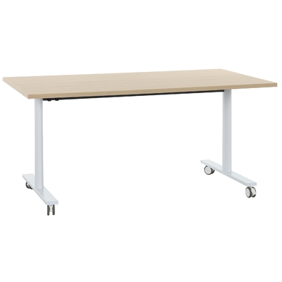YES CHÊNE NATUREL PIEDS BLANC TABLE MOBILE ET RABATTABLE 140CM