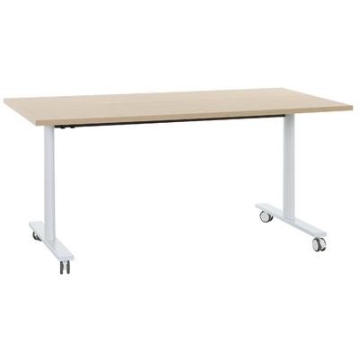 YES CHÊNE NATUREL PIEDS BLANC TABLE MOBILE ET RABATTABLE 180CM