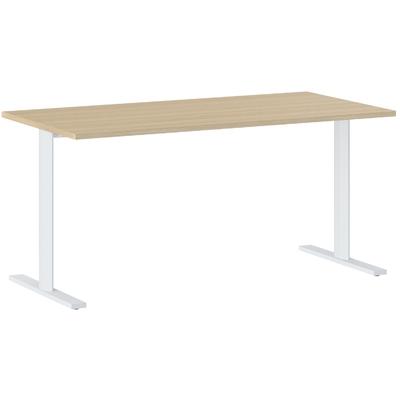 YES/XERUS CHÊNE NATUREL TABLE DE RÉUNION PIEDS BLANCS 140CM