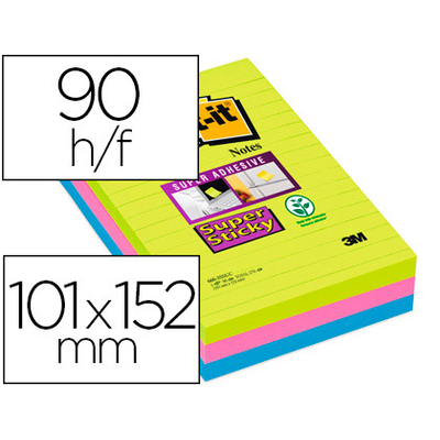 SUPER STICKY GRAND FORMAT 101X152MM LOT DE 3