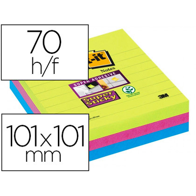 SUPER STICKY GRAND FORMAT 101X101MM LOT DE 3