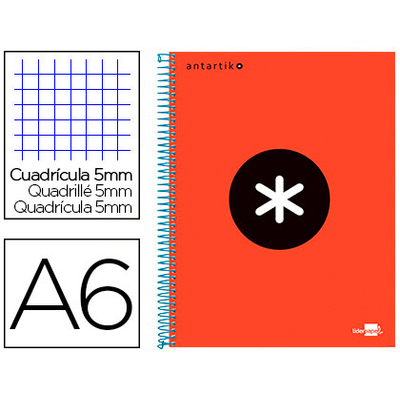 ANTARTIK A6 200 PAGES PETITS CARREAUX ROUGE