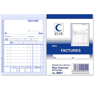 BLOC FACTURES 50 FEUILLETS 140X105MM