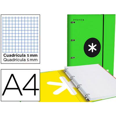 CLASSEUR ANTARTIK + FEUILLETS 5X5 VERT FLUO