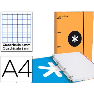 CLASSEUR ANTARTIK + FEUILLETS 5X5 ORANGE FLUO