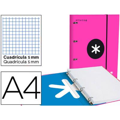CLASSEUR ANTARTIK + FEUILLETS 5X5 ROSE FLUO