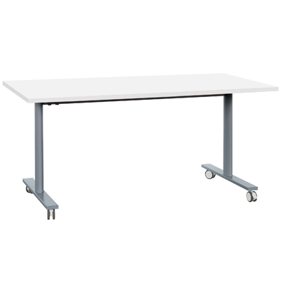 YES BLANC PIEDS GRIS TABLE MOBILE ET RABATTABLE 120CM
