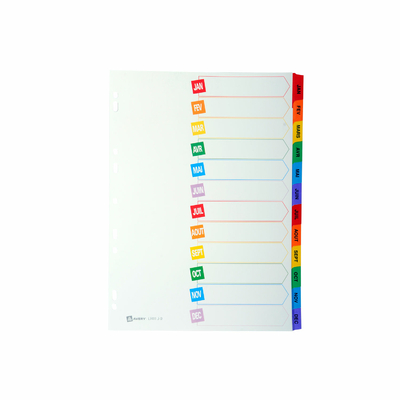 INTERCALAIRES CARTE MYLAR 12 TOUCHES MENSUELLES