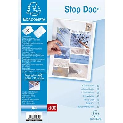 POCHETTE COIN A4 STOP DOC INCOLORE PACK DE 100
