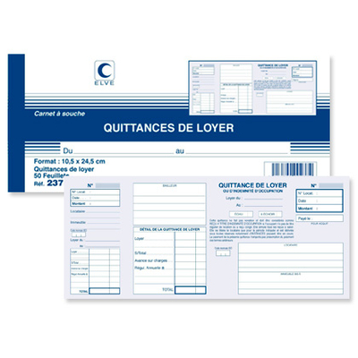 QUITTANCES DE LOYER 105X245MM