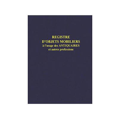 REGISTRE D'OBJETS MOBILIERS POUR ANTIQUAIRES