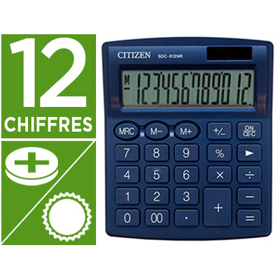 CALCULATRICE SDC-812BN 12 CHIFFRES BLEU