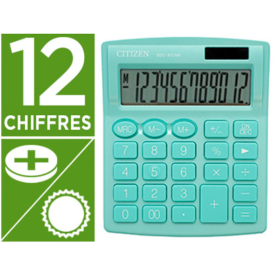CALCULATRICE SDC-812BN 12 CHIFFRES VERT MENTHE