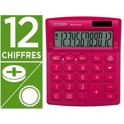 CALCULATRICE SDC-812BN 12 CHIFFRES ROSE