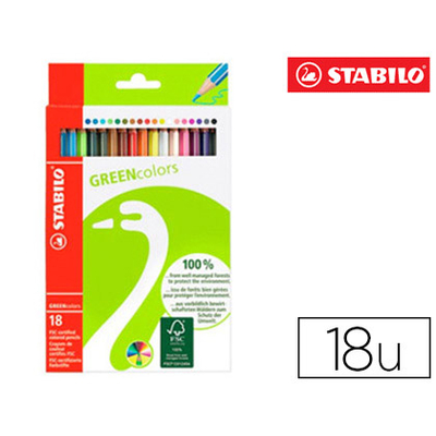 CRAYONS STABILO GREENCOLORS PACK DE 18