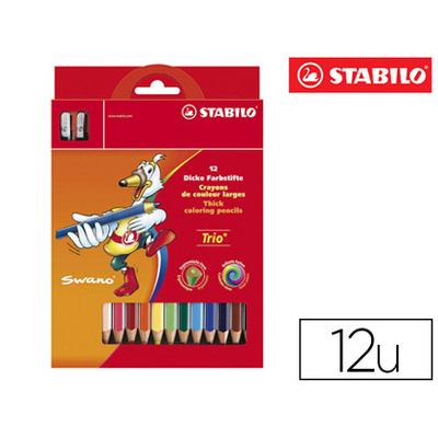 CRAYONS STABILO TRIO PACK DE 12 + TAILLE-CRAYON
