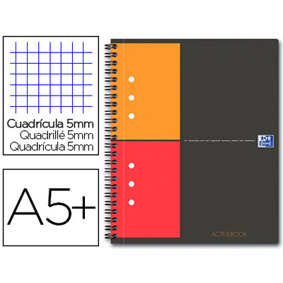 ACTIVEBOOK A5+ 160 PAGES PETITS CARREAUX