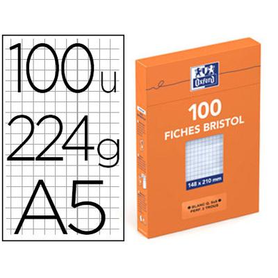 FICHE BRISTOL 148X210MM RÉGLURE 5X5 BLANCHES PERFORÉES