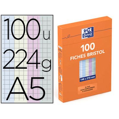 FICHE BRISTOL 148X210MM RÉGLURE 5X5 ASSORTIES