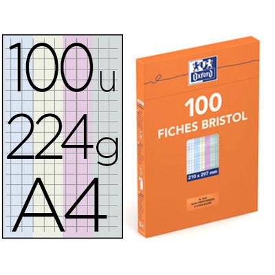 FICHE BRISTOL 210X297MM RÉGLURE 5X5 ASSORTIES