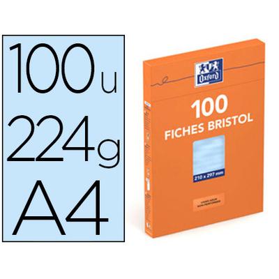 FICHES BRISTOL 210X297MM UNIES BLEUES