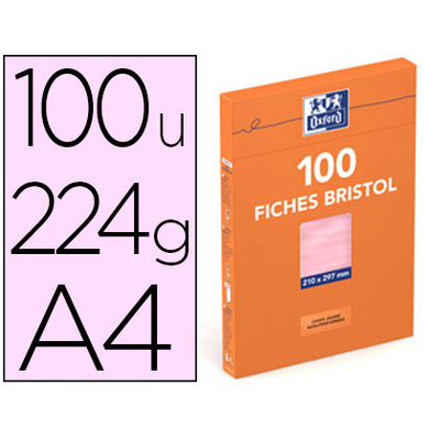 FICHES BRISTOL 210X297MM UNIES ROSES