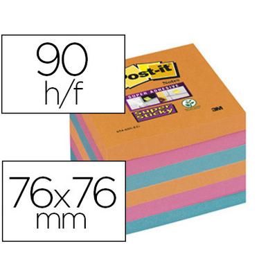 SUPER STICKY ORANGE ROSE BLEU 76x76mm