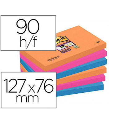 SUPER STICKY ORANGE ROSE BLEU 76x127mm