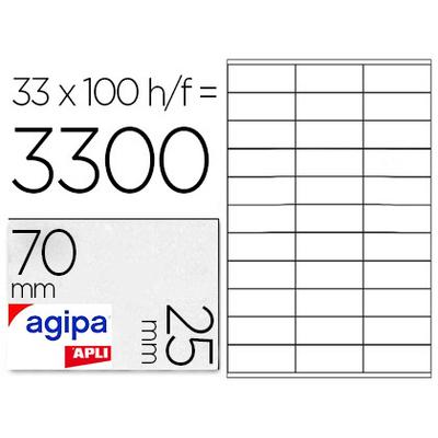 AGIPA ÉTIQUETTES  COINS DROITS 70x25mm