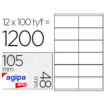 AGIPA ÉTIQUETTES  COINS DROITS 105x48mm