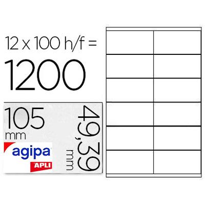 AGIPA ÉTIQUETTES  COINS DROITS 105x49,39mm