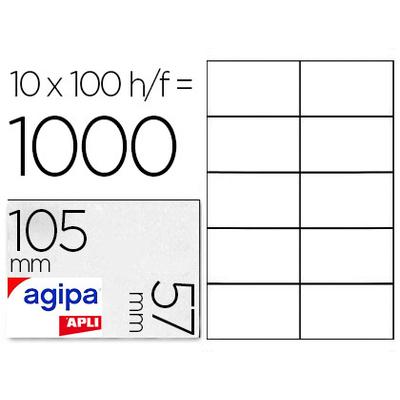 AGIPA ÉTIQUETTES  COINS DROITS 105x57mm