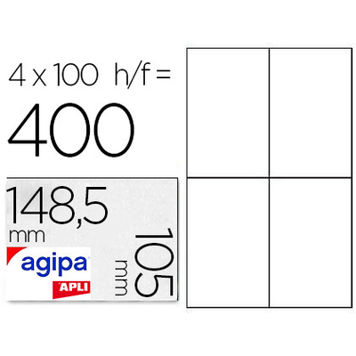 AGIPA ÉTIQUETTES  COINS DROITS 105x148,5mm