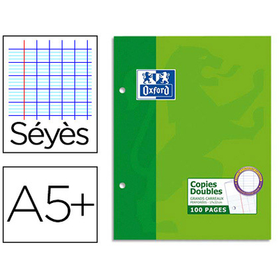 OXFORD A5+ PERFORÉS PACK DE 200 COPIES DOUBLES