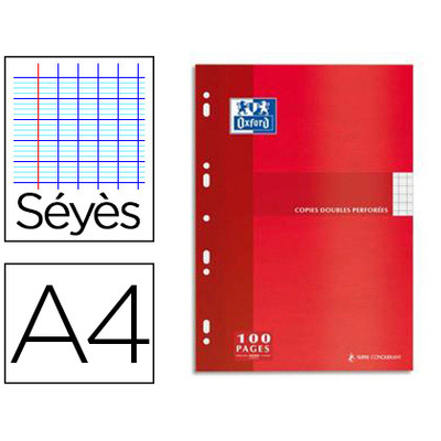 OXFORD A4 PERFORÉS PACK DE 100 COPIES DOUBLES