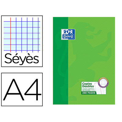 OXFORD A4 NON PERFORÉS PACK DE 200 COPIES DOUBLES