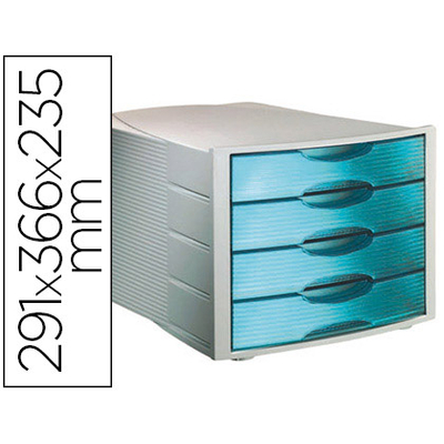 bloc 4 tiroirs gris bleu organiser son bureau module de classement. Black Bedroom Furniture Sets. Home Design Ideas