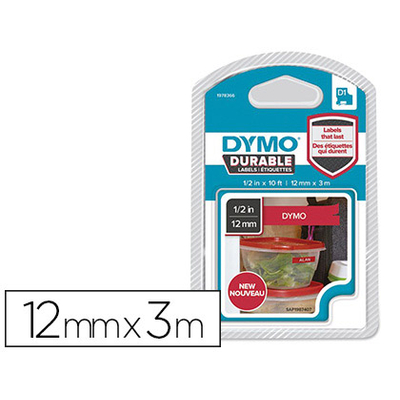 DYMO D1 BLANC/ROUGE 12mmx3m