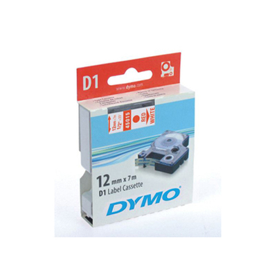 DYMO D1 ROUGE/BLANC 12mmx7m