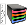 BLOC BIG BOX 4 TIROIRS NOIR/ARLEQUIN