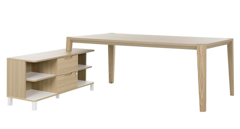 Absolu bureau bois 200cm avec retour mobilier de direction par