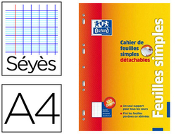 Oxford 35855 Cahier Feuilles Simples D/étachables Coins Ronds A4 210 x 297mm Papier Assorties