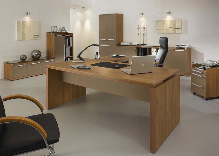 Sliver noyer bureau bois 190cm mobilier de direction par famille