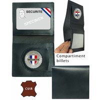 Porte carte billet cuir 2 volets+ médaille SECURITE ou MAITRE-CHIEN