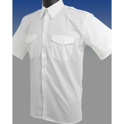 Chemise Blanche manches courtes, 60% coton 40% polyester